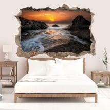 Sticker mural lever du soleil mer noire côte 3D
