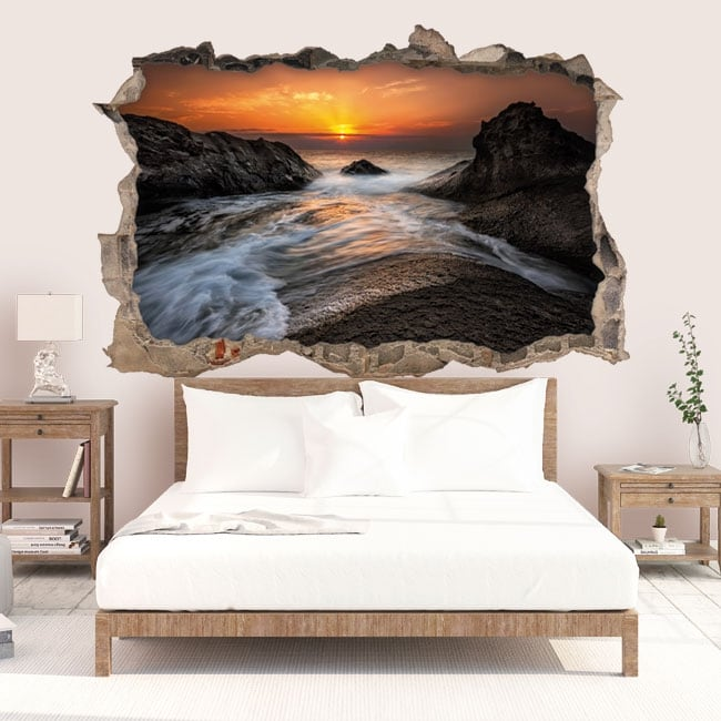 sticker mural lever du soleil mer noire c te 3d. Black Bedroom Furniture Sets. Home Design Ideas