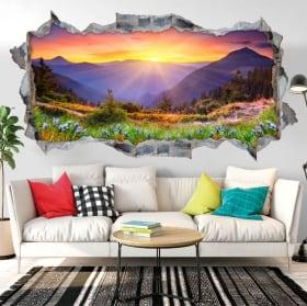 Vinyle murs coucher de soleil dans les montagnes 3D