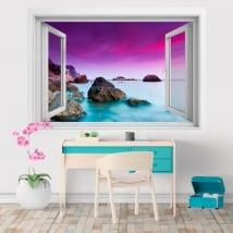 Vinyle et autocollants fenêtre 3D coucher de soleil sur la mer