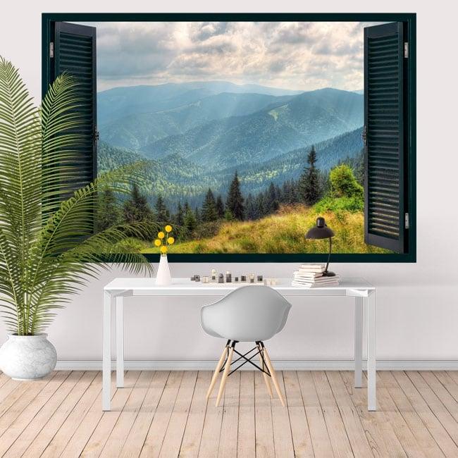 Vinyle décoratif fenêtre montagnes 3D