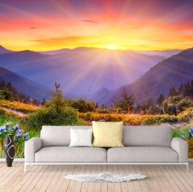 Papiers peints en vinyle coucher de soleil dans les montagnes