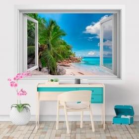 Vinyle décoratif fenêtre Îles Seychelles 3D