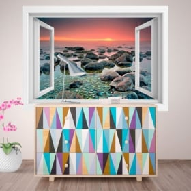 Vinyle décoratif fenêtre coucher de soleil dans la mer 3D