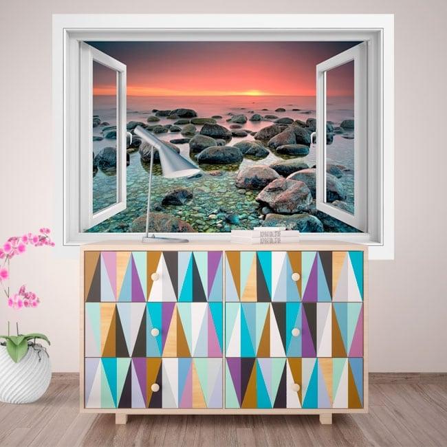 vinyle d coratif fen tre coucher de soleil dans la mer 3d. Black Bedroom Furniture Sets. Home Design Ideas