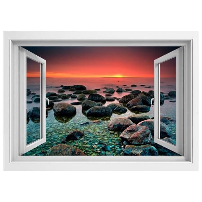 Vinyle d coratif fen tre coucher de soleil dans la mer 3d for La fenetre soleil