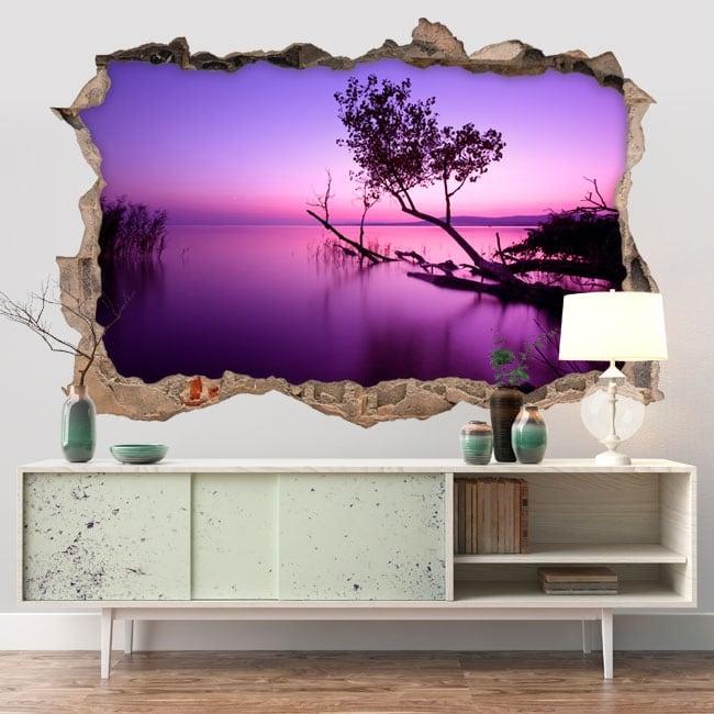 Vinyle d coratif coucher de soleil sur le lac 3d for Soleil decoratif mural