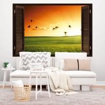 Vinyle décoratif fenêtre oiseaux au coucher du soleil 3D