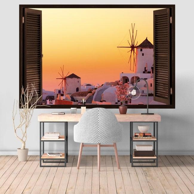 Vinyle décoratif crépuscule à Santorin Grèce 3D