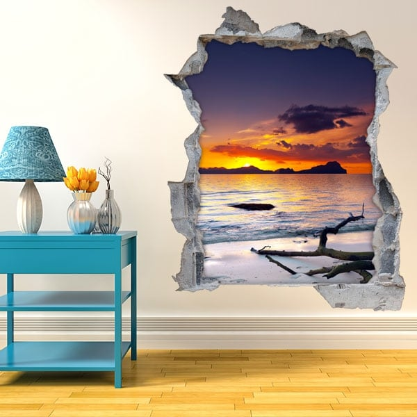 Stickers muraux coucher de soleil sur la plage 3D