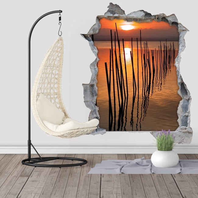 Vinyle d coratif cr puscule albufera valencia 3d for Soleil decoratif mural