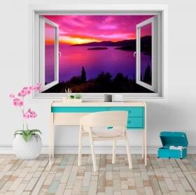 Vinyle décoratif fenêtre coucher de soleil en Grèce 3D