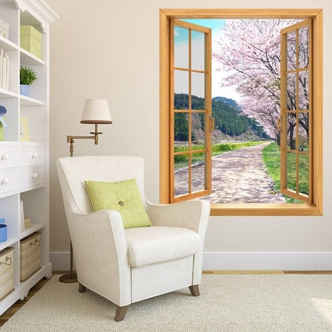 Vinyle décoratif fenêtres cerisier Japon 3D