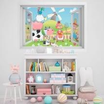 Vinyle pour enfants fenêtre ferme d'animaux 3D