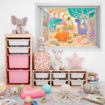 Vinyle pour enfants fenêtre Dinosaures 3D