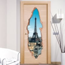 Vinyle décoratif portes Paris Tour Eiffel 3D