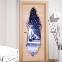 Vinyle décoratif des portes neige carré 3D