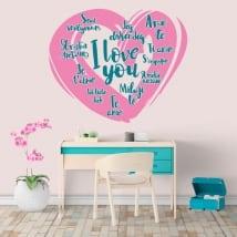 Vinyle décoratif Je t'aime en plusieurs langues