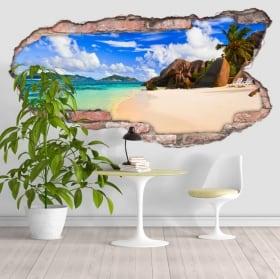 Vinyle plage Anse Source D'Argent Seychelles 3D