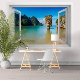 Vinyle décoratif fenêtre île James Bond Thaïlande 3D