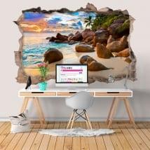 Vinyle décoratif île tropicale au coucher du soleil 3D