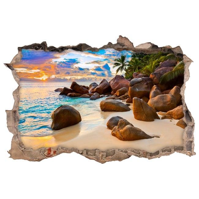 vinyle d coratif le tropicale au coucher du soleil 3d. Black Bedroom Furniture Sets. Home Design Ideas