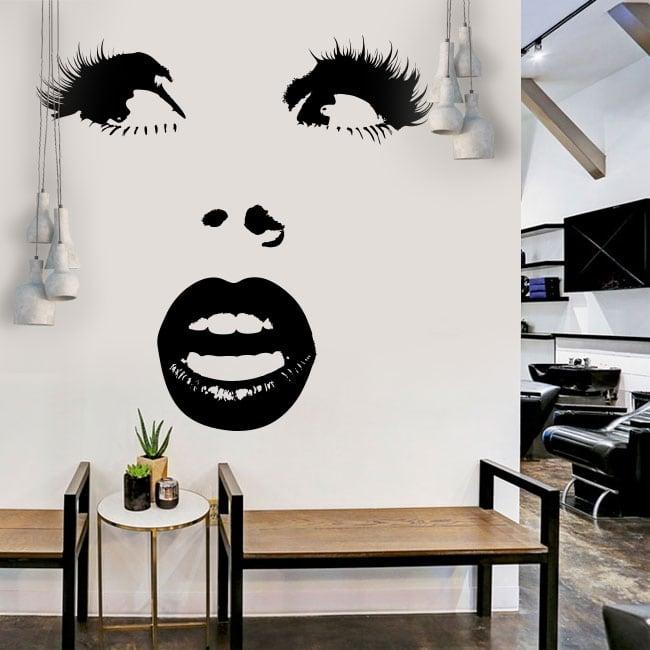Vinyle décoratif visage de femme surpris