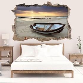 Vinyle décoratif lever du soleil sur la plage 3D