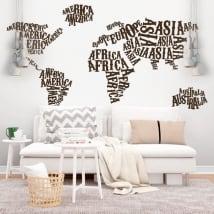 Vinyle et autocollants carte du monde continents