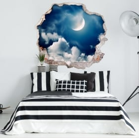 Vinyle décoratif lune et nuages 3D