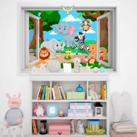 Vinyle pour enfants animaux dans la jungle 3D