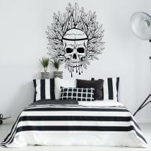 Vinyle décoratif crâne et plumes
