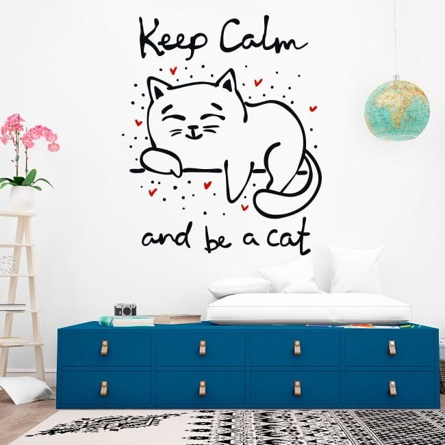 Vinyle décoratif phrase garder son calme et être un chat