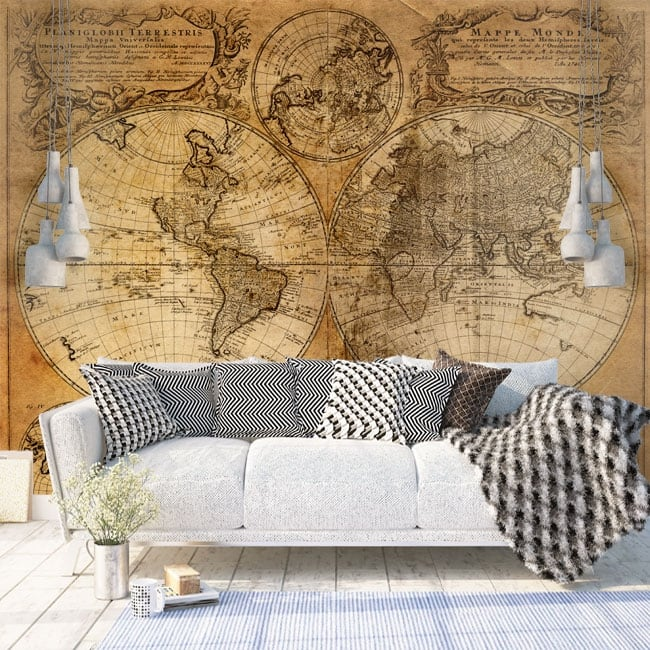Papiers peints en vinyle carte du monde vintage