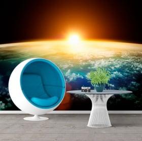 Papiers peints en vinyle planète terre et soleil 3D