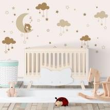 Vinyle pour enfants petit ours endormi sur la lune