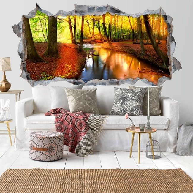 Autocollants murs coucher de soleil forêt d'automne 3D