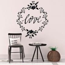 Stickers muraux aimer avec des fleurs