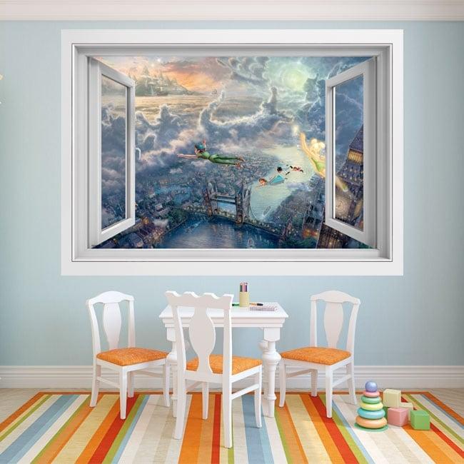 Vinyle décoratif fenêtre Peter Pan 3D