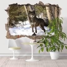 Vinyle décoratif loup dans la forêt 3D