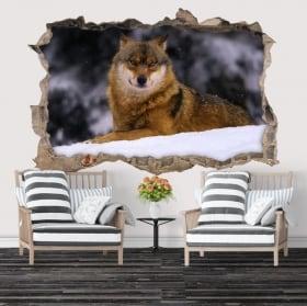 Vinyle décoratif loup en hiver 3D