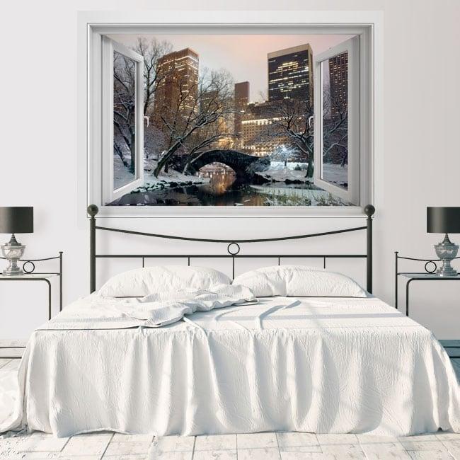 Vinyle fenêtre Central Park New York 3D