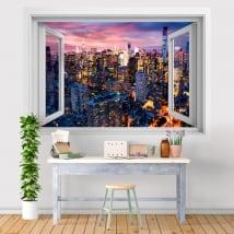 Vinyle fenêtre coucher de soleil New York Manhattan 3D