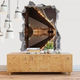 Vinyle murs pont 3D de New York Manhattan