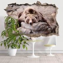 Vinyle décoratif murs ours grizzli 3D