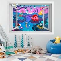 Vinyle pour enfants fantaisie animale 3D