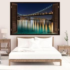 Vinyle fenêtre pont Brooklyn 3D