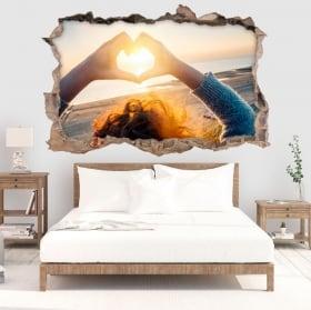 Stickers muraux coeur au coucher du soleil 3D