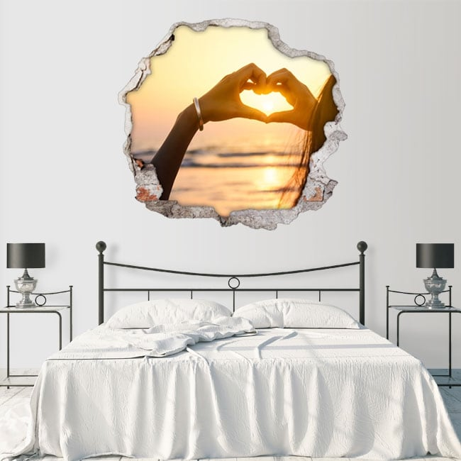 Vinyle coeur coucher de soleil mains 3D