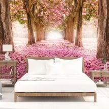 Papiers peints arbres fleurs roses